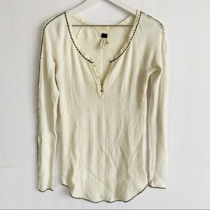We The Free People Cream Thermal Long Sleeve Top